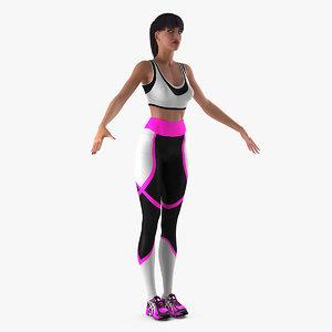 3D woman sportswear t-pose sporting