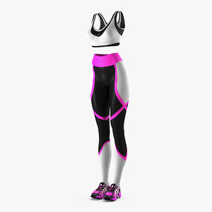 women fitness style clothes 3D model