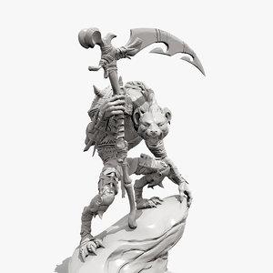 3D gnoll sculpture printing model