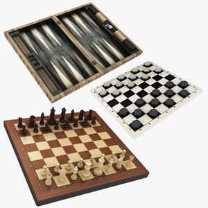 backgammon chess draughts 3D model