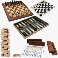 3D board backgammon chess jenga model