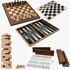 3D board backgammon chess jenga model