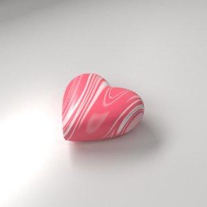 3D model strawberry heart shape chocolate