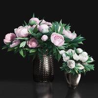 Pastel White Pink Peony Decor Metal Vases