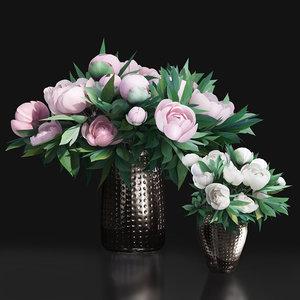 flower peony vase white 3D model