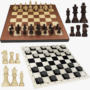 3D model draughts chess board