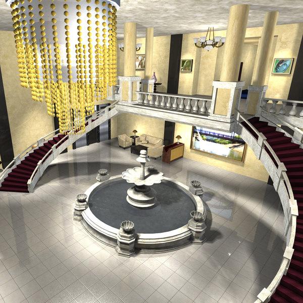 hotel lobby 3D model