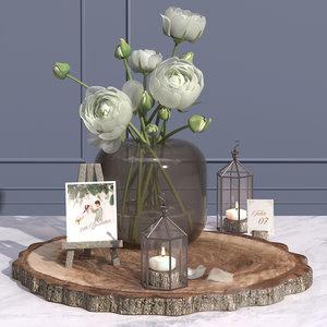 table decor easel camellia 3D model