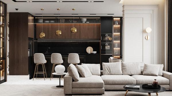 3D modern apartment interior design
