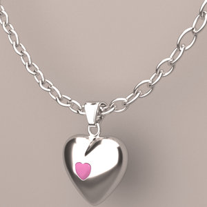 3D ruby heart necklace chain model