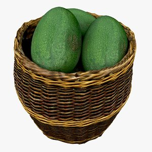 wicker basket avocados model