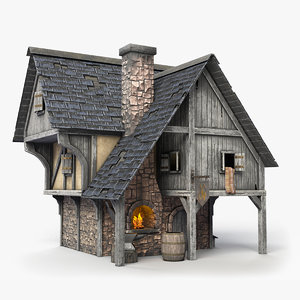 3D medieval blacksmith forge