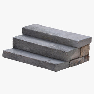 3D model stone concrete steps 01