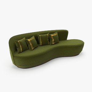3D curved sofa green