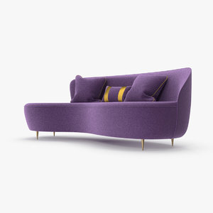 curved sofa purple 3D model