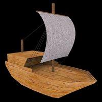 3D little sailing ship