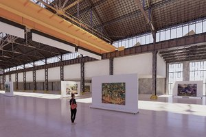 art gallery interior old warehouse 3D model