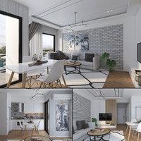 3D scandinavian studio house