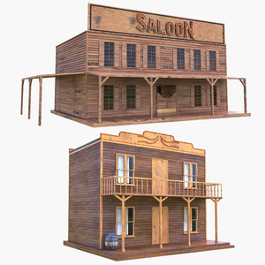 western houses saloon 3D