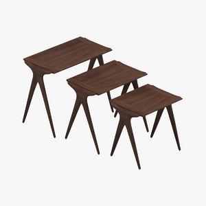 vladimir kagan nest tables 3D model