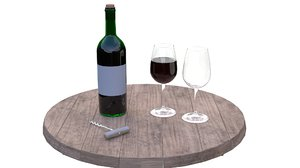 wine bottle set glass 3D