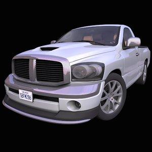 generic single cab pick-up truck 3D model