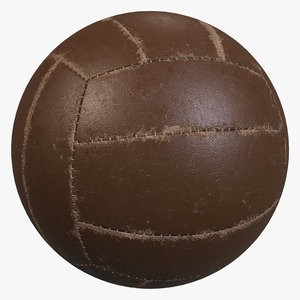 3D old volleyball ball model