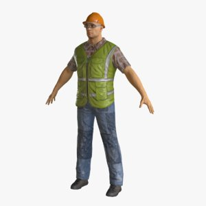 realistic construction worker model