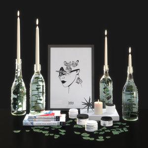 decorative set candlesticks 3D