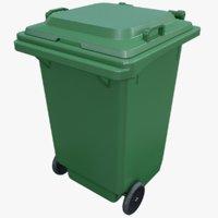 Plastic Trash Bin Green Rigged