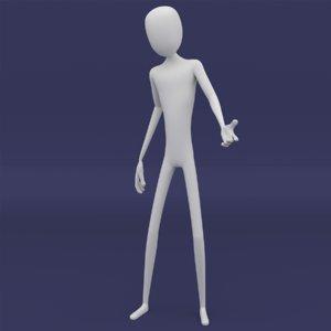 stickman character rig 3D model