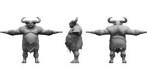 3D model wild forest man cartoon