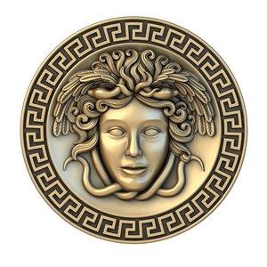 3D model medusa medallion basrelief relief