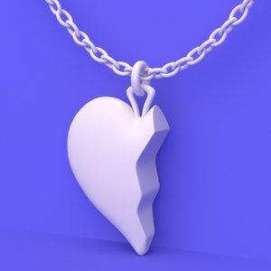 3D heart necklace model