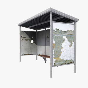 3D shabby bus shelter model