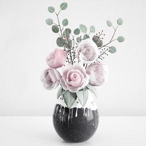 tender decorative bouquet peonies 3D