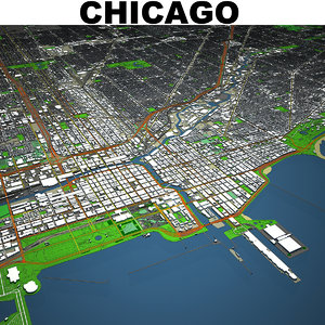 3D chicago cityscape model
