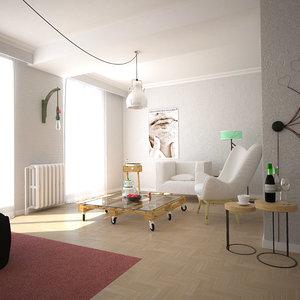 living room v1 3D model