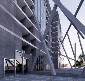 3D model 3 stars hotel building