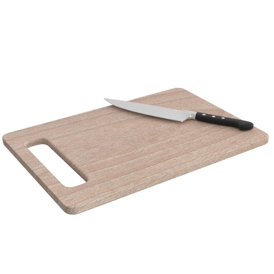 Wooden Cutting Board Knife 3D Model