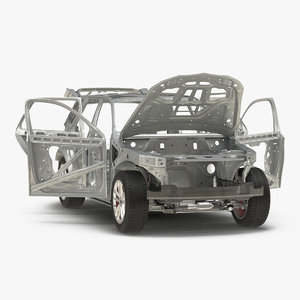 3D suv frame chassis rigged model