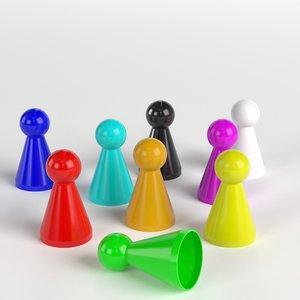 3D board pawns set