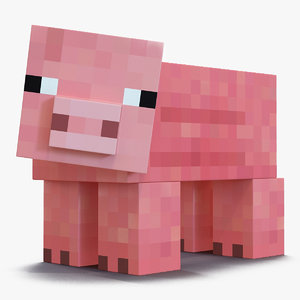 minecraft pig rigged 3D