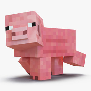 minecraft pig rigged 3D model