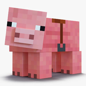 3D minecraft pig saddle rigged