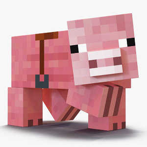 3D minecraft pig saddle rigged model