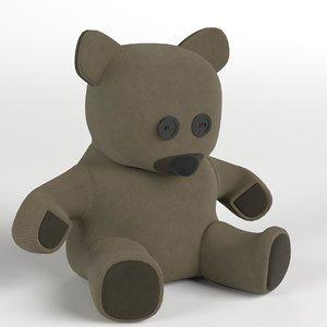 3D burlap teddy bear