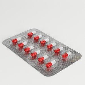 3D model capsules blister pack