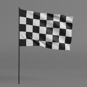 checkered racing flag 3D model