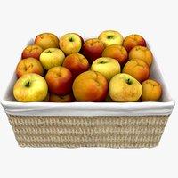 wicker basket apricots apples model